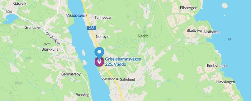 Karta med Grisslehamnsvägen 225 utmärkt